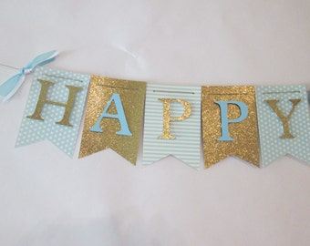 Blue and glitter gold Happy birthday banner, first birthday decorations