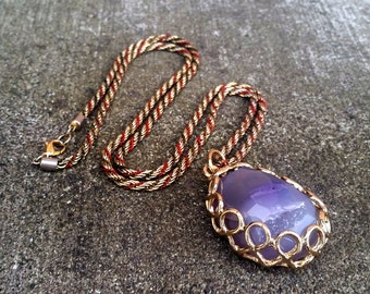 Hanging by a Thread- Lavender Druzy Quartz Pendant Necklace