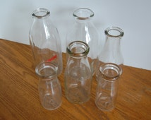 RESERVEDVintage Milk Bottles, CHOICE Pint Bottle, 1/2 Pint Bottle, Quart Bottle
