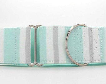 Mint Stripes Dog Collar (Martingale, Buckle, or Tag)