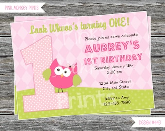 DIY - Girl Owl First Birthday Invitation # 443  - Coordinating Items Available