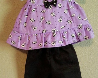 Bright Purple and Black Doll Top and matching pants