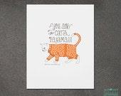 Cat Art, Wall Art, Wall Decor, Cat's Pajamas Letterpress Art Print, JJD_LP_CPJP