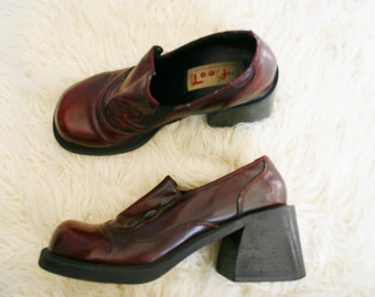 90's Oxblood red chunky heel SHOES - women's 7