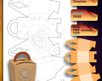 Gift, Favor Box - DIY Digital Template CT-84 - layered psd, transparent png, Instant Download