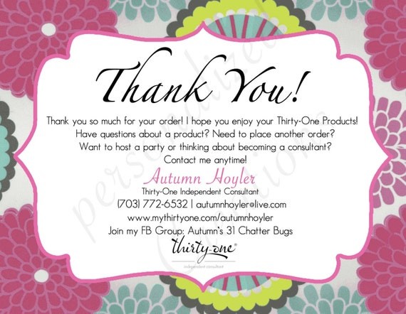 il_570xN.743767536_nue7 items similar to personalized thank you cards made for thirty one,Thirty One Invitations