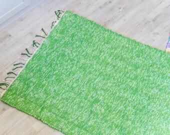 Hand woven spring green rag rug