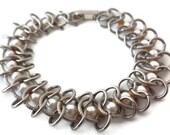 Goldette Pearl Bracelet Designer Signed Circle Links