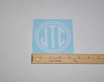 Double Circle Monogram Vinyl Decal Sticker