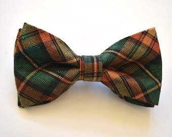 Gold orange and green plaid boys bow tie, imperial tartan plaid bow tie, glitzy bow tie for the holidays
