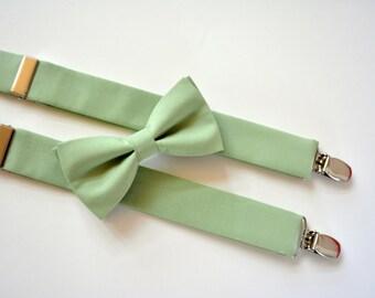 Suspenders/Boys sage green suspenders and bow tie set, custom made suspenders for kids,sage suspenders,suspenders for boys