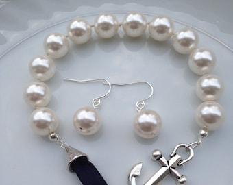 Mandy - Bridal Jewelry Set, Pearl Bracelet Earrings Set, Anchor and Pearl Set, Swarovski Pearls, Nautical Jewelry, Nautical Pearl Jewelry