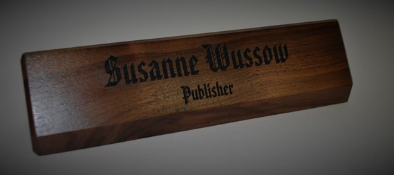 Personalized Wooden Desk Name Plates 10 Inch solid Walnut