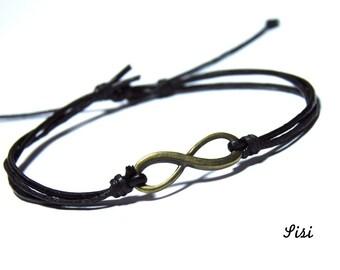 black cord bracelet bronze infinity