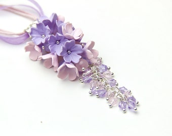 Floral Pendant pink, lilac  flowers polymer clay flower, pendant with flowers, pink pendant,  lilac pendant, Rose quartz serenity blue