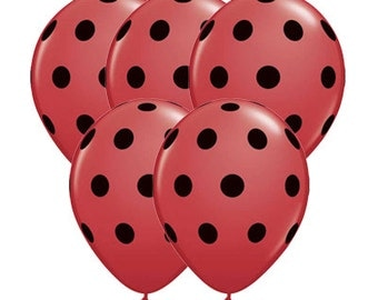 "SALE - 11"" Inch Ladybug Red and Black Polka Dot Balloons - Birthday Party, Wedding Decor, Baby or Bridal Shower"