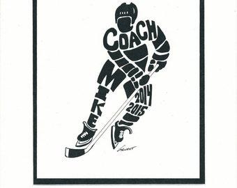Personalized Sport Figure - Hockey II Coach -  Name/Date