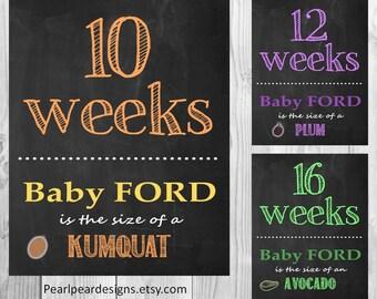 Customized fruit vegetable Printable File Pregnancy Chalkboard  Weeks: digital files 17 weeks even (8-40)