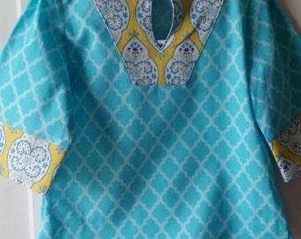 Handmade girls preppy aqua beach tunic/Toddler size: 18 mo-2T