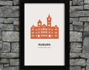Auburn - Samford Hall - City Print Poster - 11x17
