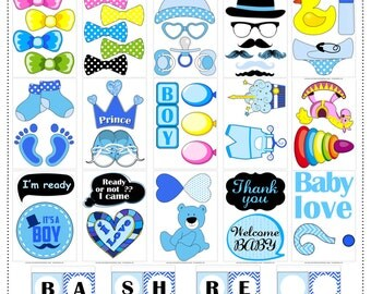 55 Baby Boy Shower Photo Booth Props – banner - Instant Download - Printable Baby Shower – DIY Printable PhotoBooth – BabyShower Boy