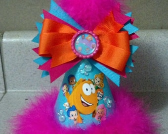 Bubble guppies birthday party hat with removable hairbow party supplies