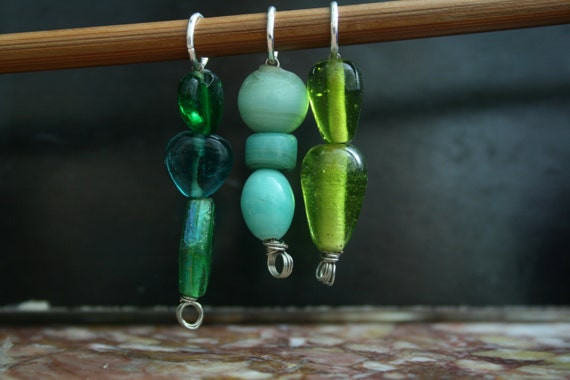 Handmade Stitch Markers in Green Hues