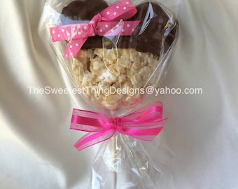 12 Minnie / Mickey Mouse Rice Krispie Treat Pops / Favor Pops by The Sweetest Thing Designs & Events