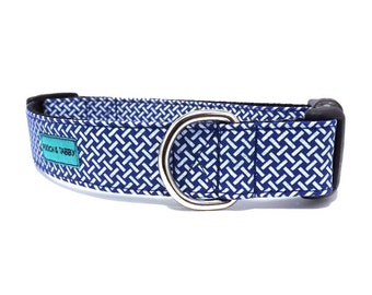 Gridlocked - Blue and White Dog Collar | Available in 4 widths