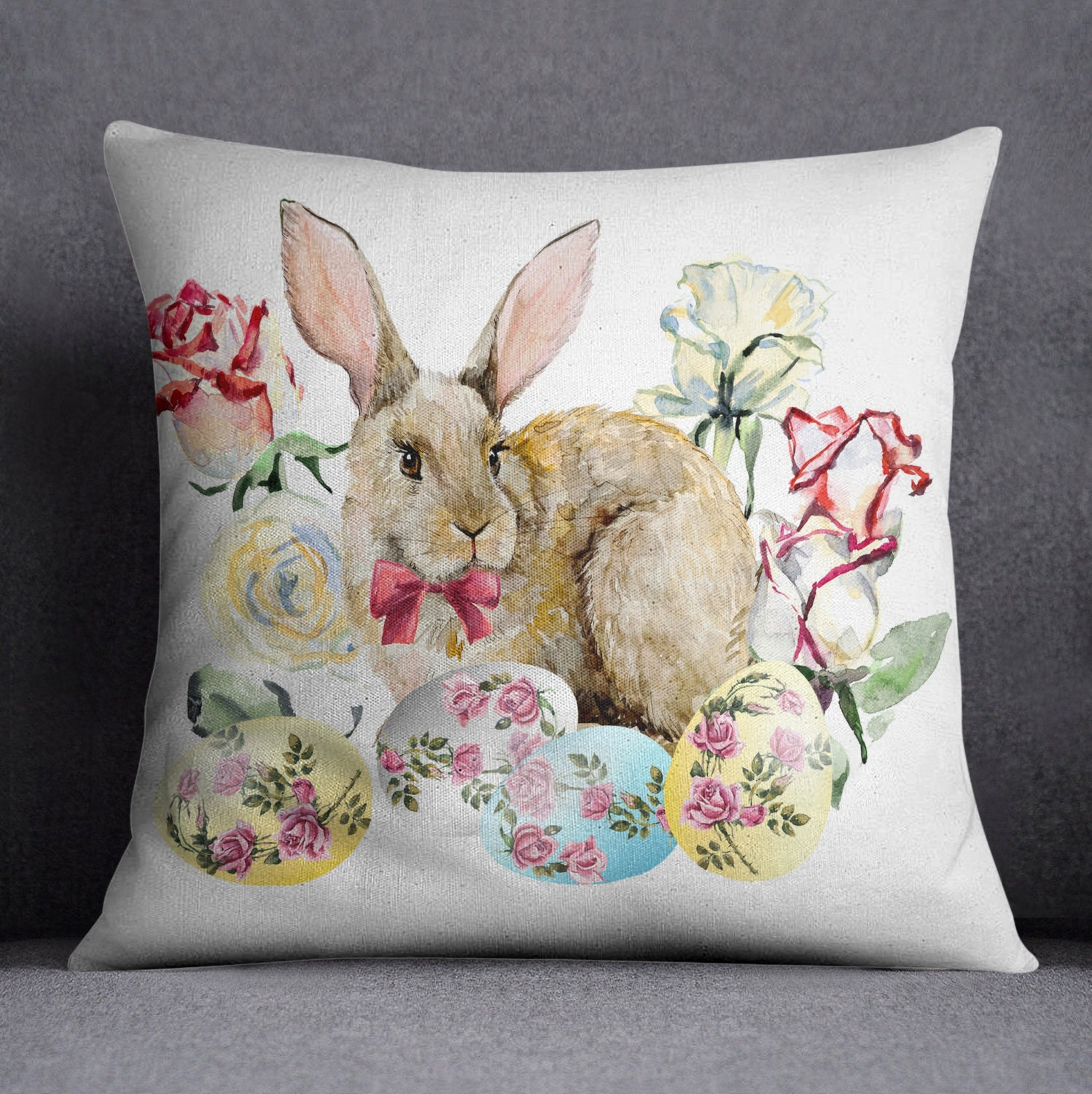Easter Pillow Easter Decorations Easter Bunny Pillow by InkandRags