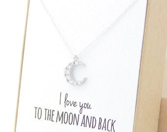 I love you to the moon and back - Silver Crescent Moon Necklace - Tiny Moon - Dainty Necklace - Mother of the Bride Gift - Crystal Moon