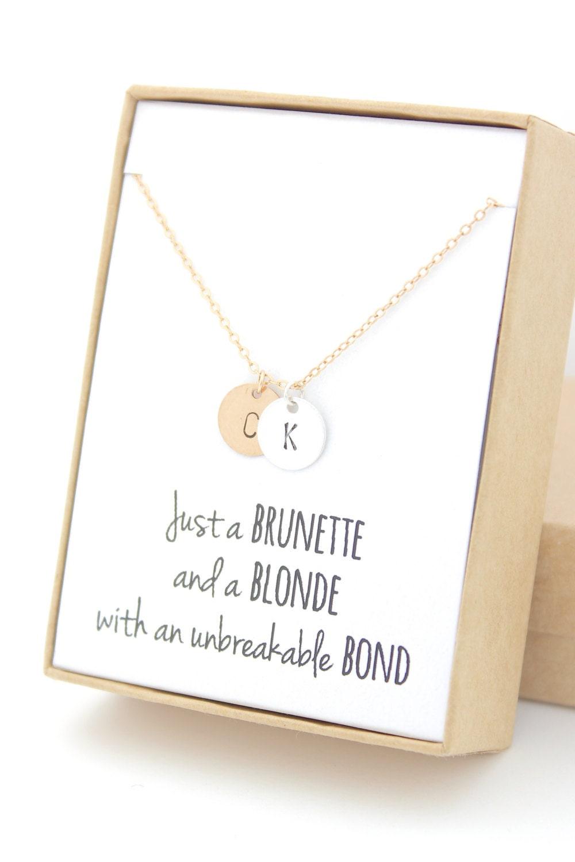 blonde and brunette best friend monogram gold  u0026 silver two