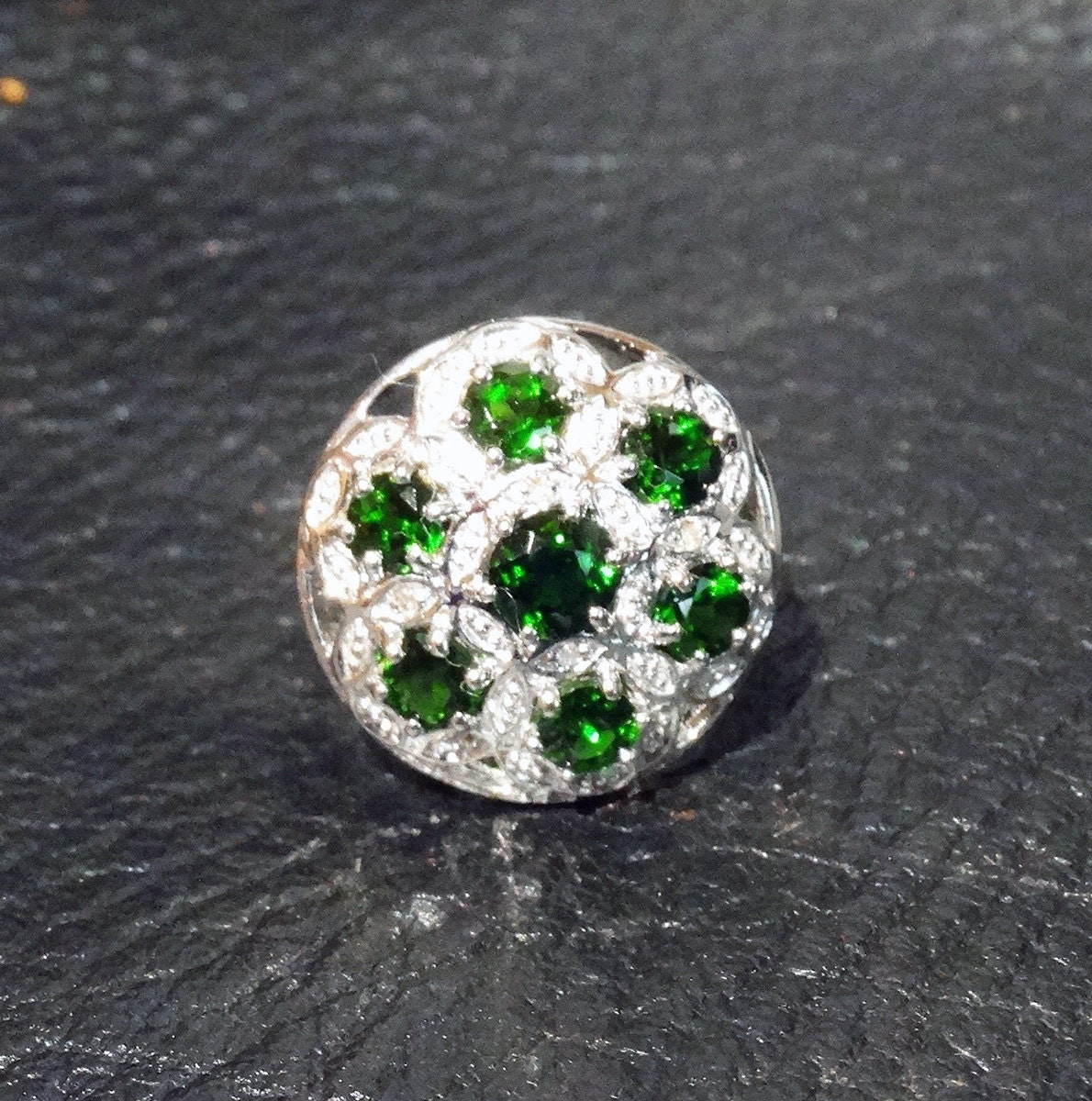 russian emerald ring sterling silver vintage chrome diopside