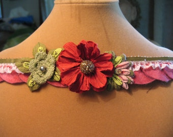 Green and Red Flower Lace Headband