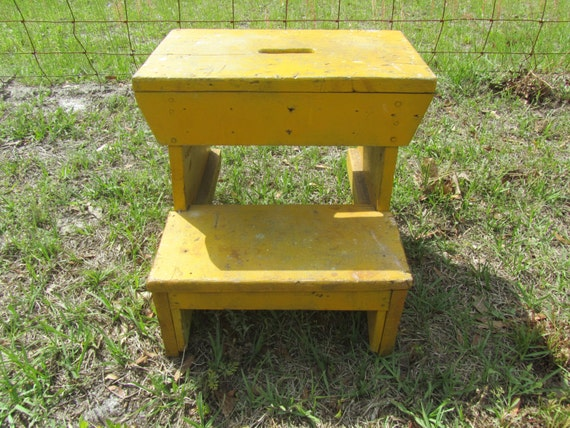 Antique Step Stool Wood Step Ladder Folding Step Stool