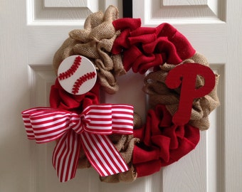 Phillies Burlap Wreath