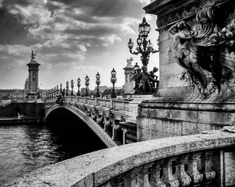 Bridge across the Seine - Paris, France, Pont Alexandre III, Grand, Ornamental, Black and White, Fine Art Photograph, City of Love