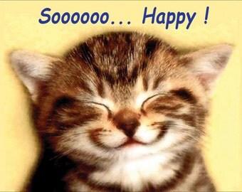 I'm So Happy Tabby Kitten Fridge Magnet 7cm by 4.5cm,