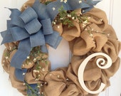 Burlap and denim, Spring and Summer wreath, monogram wreath, Burlap initial wreath, Initial wreath, Burlap home decor