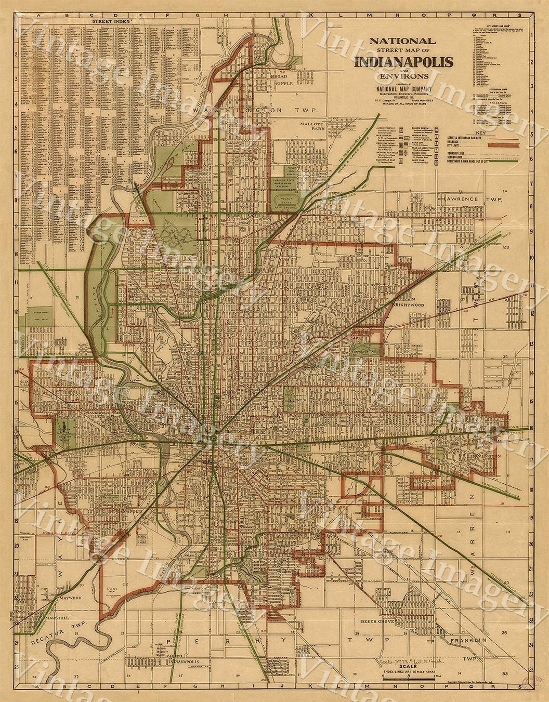 Indianapolis Map Old Antique Restoration Hardware Style - Restoration hardware paris map