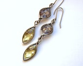 Handmade Lemon and Purple Quartz earrings, wire wrapped in sterling and fine silver