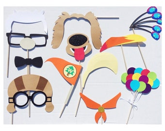 Disney UP Photo Boot Props ; Adventure Awaits Photo Booth Props ; Balloon Birthday Photo Booth Props ; UP Party Decor