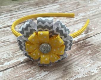 Chevron Headband - Yellow With Gray Chevron Headband - Yellow Headband -  Yellow Chevron Headband - Girls Headband - Yellow Hair Accessory