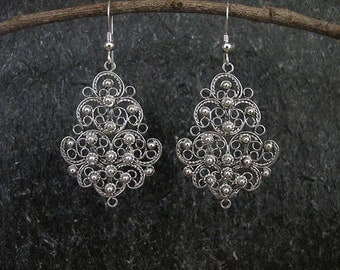 Silver Filigree Earrings , Filigree earrings ,  Silver earrings, Israel jewelry,Yemenite jewelry