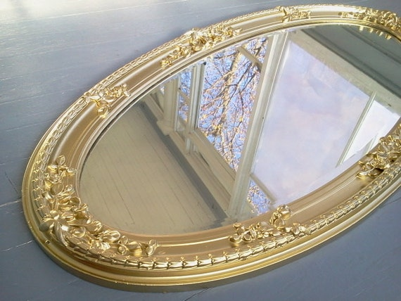 Large Gold Frame Mirror: Mirror Large Oval Ornate Gold Wall Mirror By