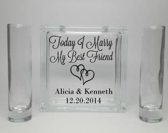 Unity Sand Set - Unity Sand Set with Sand - Sand Ceremony - Beach Wedding Decor - Unity Candle Alternative - Today I Marry My Best Friend