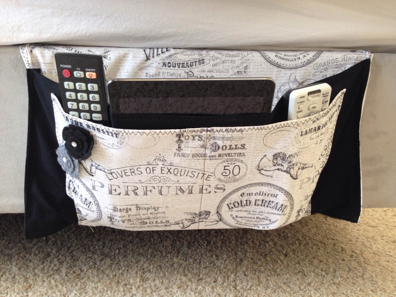 Black And White Bed Caddy Bed Organizer Bedside Caddy