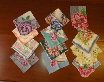 Twelve Floral Handkerchiefs