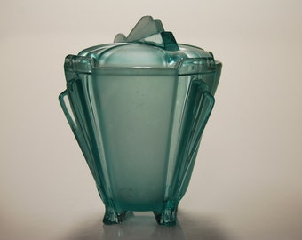 Art Deco Glass Covered Bowl