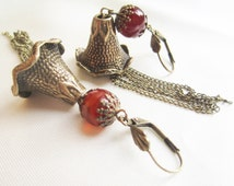 Carnelian Bells Handmade Long Tassel Earrings OOAK Antique Brass Bell Flowers  Carnelian Beads and Antique Brass Chains Bohemian Earrings